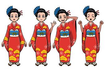 traditional japan girl character set