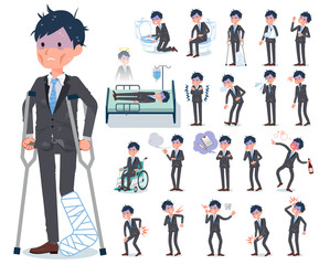 flat type Gray suit businessman Bad condition_sickness