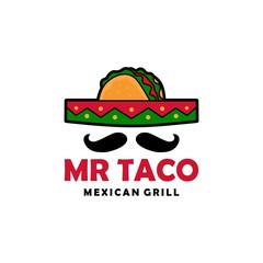 mr taco sombrero hat mustache logo vector icon illustration