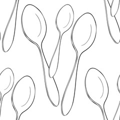 seamless pattern cutlery spoon for food. illustration