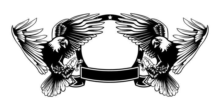 Eagle emblem isolated on white illustration. American eagle. Bird symbol of freedom and independence. Retro color logo of falcon.