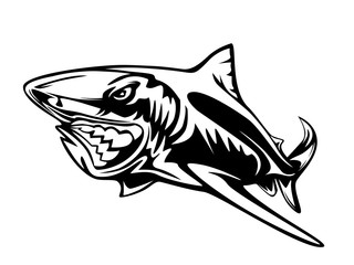 Toothy great white shark fishing logo. Strong shark fishing sports mascot emblem. Angry fish vector background.