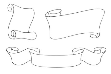 Paper and ribbon scrolls. Outline drawings set