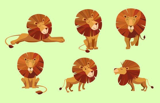 Cartoon character of lion. Set of vector illustrations.