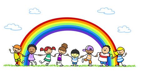 Multikulturelle Gruppe Kinder als Integration Konzept