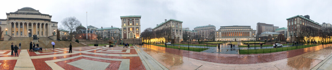 HARLEM, NEW YORK CITY - DECEMBER 2ND, 2018: Panoramic view of people in Columbia University. It is a private Ivy League research university in Upper Manhattan