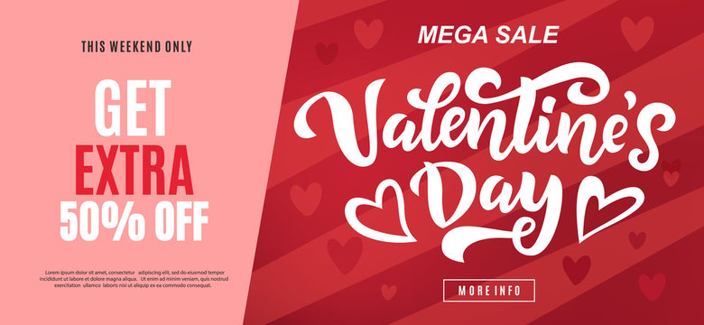 Valentine's day sale long banner template