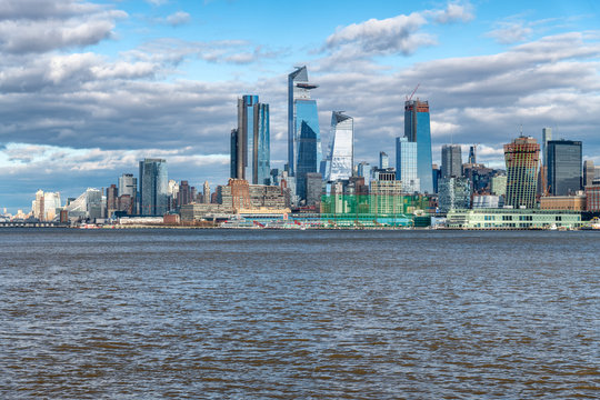 Hudson Yards skyscrapers and Manhattan skyline in New York City as seen from Jersey City