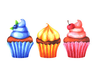Hand painted set of watercolor colorful muffins isolated on white background