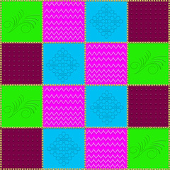 Graphic of colorful patchwork quilt with gold cross stiching in between squares.   Ideal for quilters and crafters.