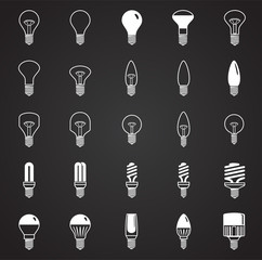 Lamp icons set on black background for graphic and web design, Modern simple vector sign. Internet concept. Trendy symbol for website design web button or mobile app