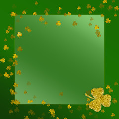 St. Patrick's Day background isolated on green gradient background with floating gold shamrocks ending with one large one.  Text area in the middle of image.