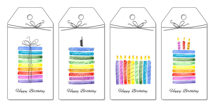 Set of party hand tags. Cute hand drawn set for birthday. Isolated. Watercolor illustration.