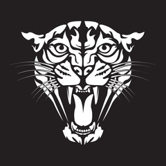 Leopard angry face tattoo. Vector illustration of jaguar head. Cougar print.