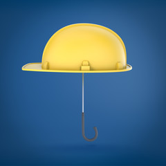3d rendering of a safety cap on an umbrella stick on a blue background.