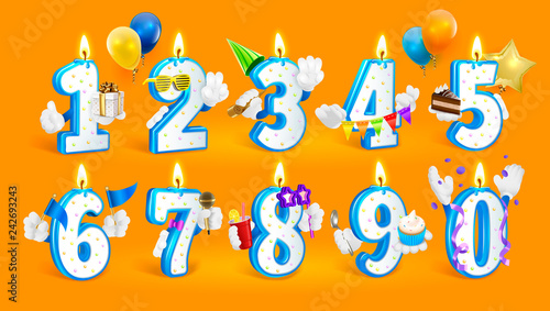Set Of Happy Birthday Candle Numbers Vector Illustration On Orange Background