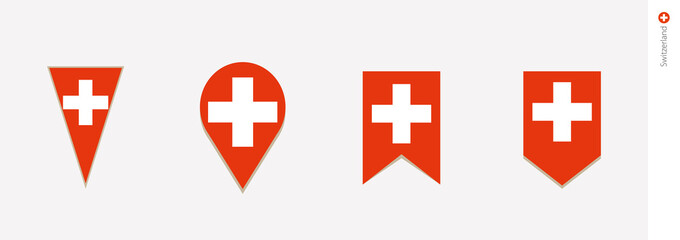 Switzerland flag in vertical design, vector illustration