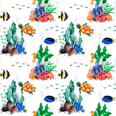 Underwater creatures.Watercolor seamless pattern with multicolored corals,seashells,seaweeds and fish,seahorse and more.Perfect for wallpaper,print,packaging,invitations,packaging,cover design,travel.