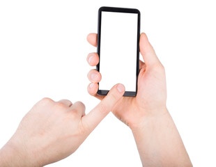 A hand touching black phone mobile screen isolated on white background