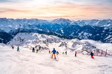 Skipiste in den Alpen