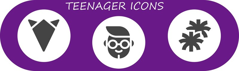 Vector icons pack of 3 filled teenager icons