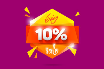 10% Sale badge banner template design. Special offer vector illustration. Black friday sale logo.