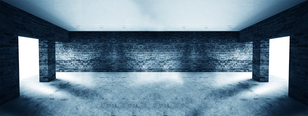 Empty room with old brick walls, large windows, dark room, sunlight. Illumination of the room. 3D...