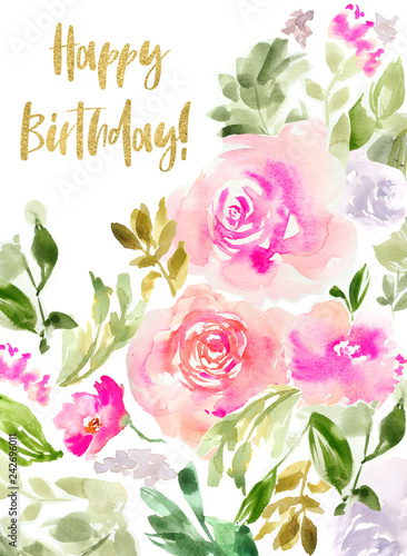 Cute Watercolor Flowers Birthday Card Background Happy
