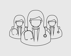 Female Surgeon team line Icon with Mask on mouth with circle shape.