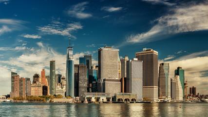 amazing view of  Manhattan downtown skyline , New York City
