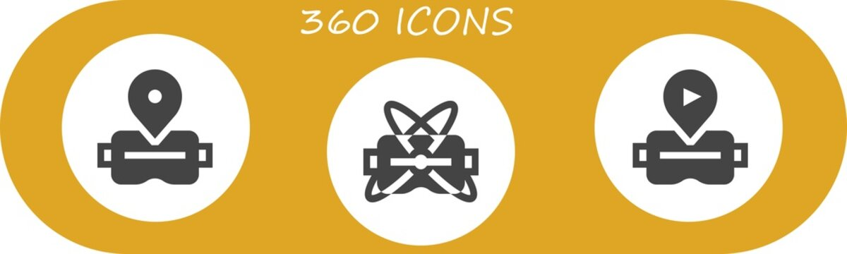 Vector icons pack of 3 filled 360 icons