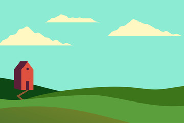 Wall Murals Green coral Vector illustration of fields landscape with a green hills, blue sky, and forest in flat style. Rural landscape. Vector illustration.