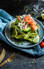 Spinach waffles and smoked salmon