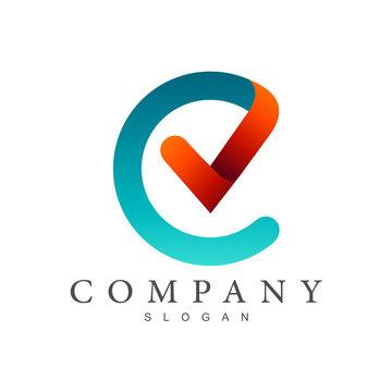 CV logo, letter c and letter v logo design, letter c with checklist symbol