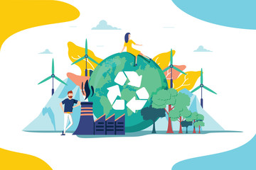 Fototapeta Environment vector illustration. Renewable nature resources collection for earth sustainability. People effect climate obraz
