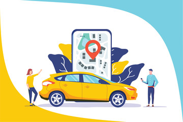 Online car sharing vector illustration concept, mobile city transportation with cartoon character and use smartphone