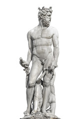 Statue of powerful Neptune in Florence, Italy, isolated at white background, details