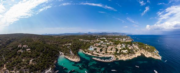 Luftaufnahme, Blick über die Fünf Finger Bucht von Portals Vells,  Mallorca, Balearen, Spanien