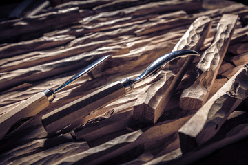 carved wood and gouges