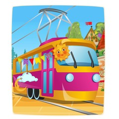 Poster with festively decorated tram car. Vector cartoon close-up illustration.
