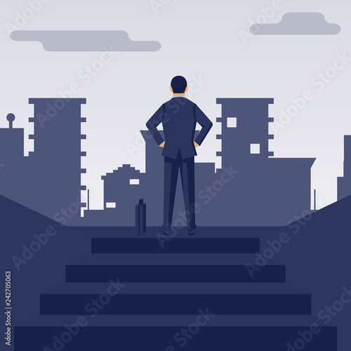 Businessman Climbed Up The Stairs On Top At The Peak Of Success
