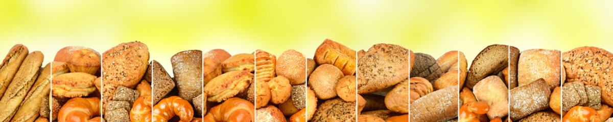 Wall Mural - Bread products in frame of vertical lines on abstract background.
