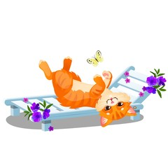 Red striped animated cat lying on a sunbed and playing with a butterfly isolated on white background. Vector cartoon close-up illustration.