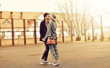 Couple in love - outdoor full lenght portrait