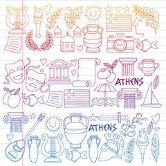 Travel to Greece. Vector set with doodle style icons