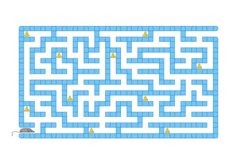 Colored rectangular labyrinth. Help the mouse to collect all the cheese. Game for kids. Puzzle for children. Maze conundrum. Flat vector illustration isolated on white background. Wall mural