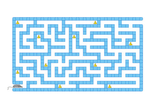Colored rectangular labyrinth. Help the mouse to collect all the cheese. Game for kids. Puzzle for children. Maze conundrum. Flat vector illustration isolated on white background.