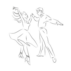 Contour silhouette of a dancing couple.
