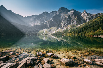 Tatra National Park, Poland. Famous Mountains Lake Morskie Oko O