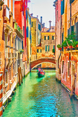 Venetian canal on summer sunny day